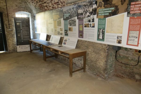 The exhibition boards hanging in their permanent home on the walls in Harwich Redoubt Museum