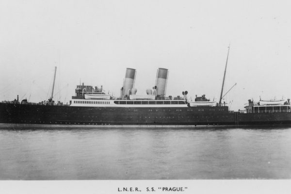 "An old photograph of the S.S. ""Prague"" - one of the line ships that brought children to Harwich"