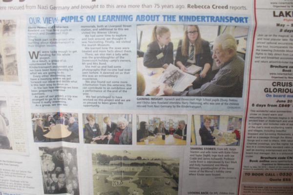 A half-page local newspaper feature, titled, 'Our view: Pupils on learning about the Kindertransport'
